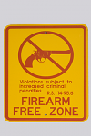 """Firearm Free Zone"" Metal Sign"